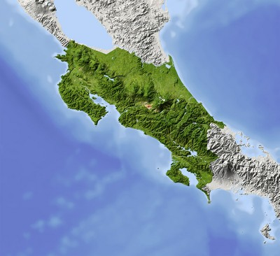 Costa Rica Topography Map — costarica-information.com